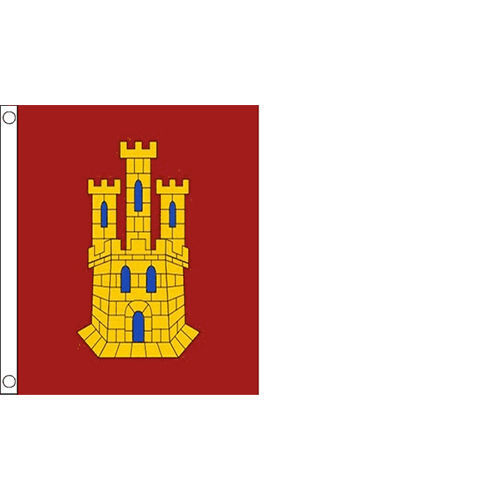 CASTILE LA MANCHA FLAG IN 5X3 - RED & WHITE W/ YELLOW CREST - SPANISH PROVENCE