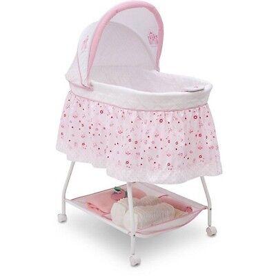 Baby Newborn Pink Bassinet Crib Cradle Girl Princess Nursery Furniture Infant
