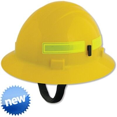 Fire Safety Hard Hat Yellow 4 Pt Suspension Slide Lock Firefighter Wildlands