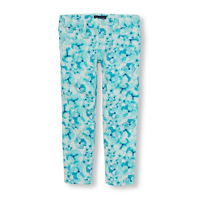 NWT The Childrens Place Girls Blue Floral Print Jeggings Pants Size 5 6