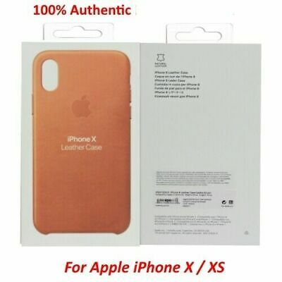 Genuine OEM Apple iPhone X/XS Leather Case Saddle Brown Brand New In Retail (Free Box Patterns)