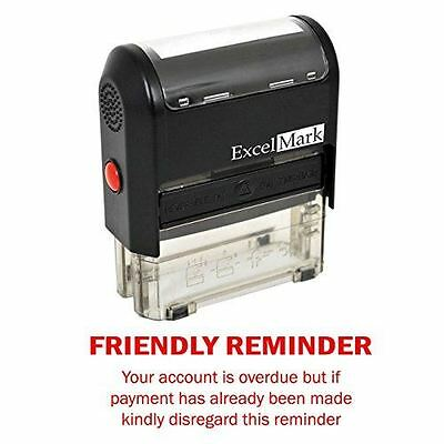 NEW ExcelMark FRIENDLY REMINDER OVERDUE Self Inking Rubber Stamp A1848 | Red Ink](Friendly Reminder)