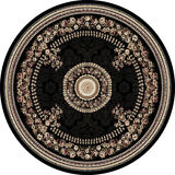 """BLACK FRENCH ORIENTAL AREA RUG 8X8 ROUND PERSIAN 023 - ACTUAL 7' 10"""" x 7' 10"""""""