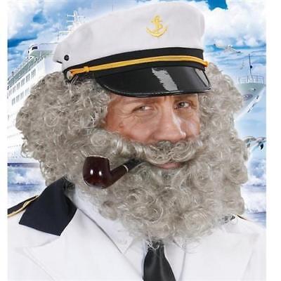 Kapitän Perücke lockig grau mit Bart Herren Kostüm Matrose Seemann Perrücke - Mann Bart Kostüm