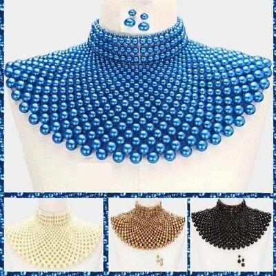 Pearl Statement Chunky Collar Choker Beaded Egyptian Necklace Set Chain Bib Wide