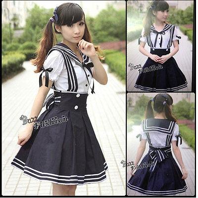 Japanese School Girl Maid Mädchen Cosplay Verkleidung Kostüm Kleid schwarz weiße ()