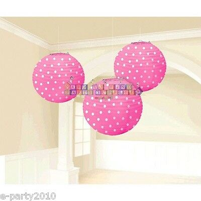 PINK POLKA DOT PAPER LANTERNS (3) ~ Birthday Party Supplies Decorations Baby