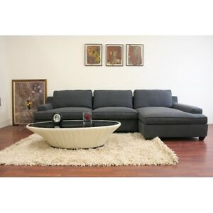BRAND NEW !! BEAUTIFUL, 2 Pc GREY FABRIC SECTIONAL