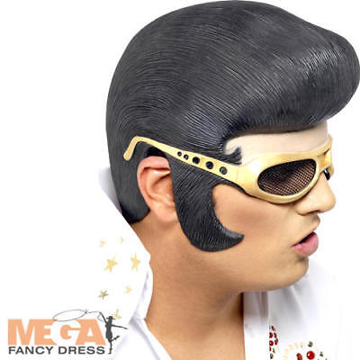Elvis Wig with Attached Glasses Mens Fancy Dress 50s Adult Costume Headpiece New