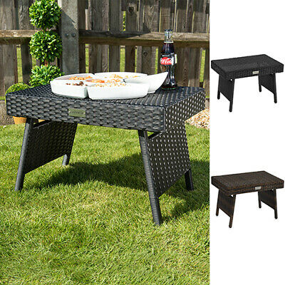 Garden Furniture - Folding Wicker Rattan Side Coffee Table Patio Garden Outdoor Living Furniture