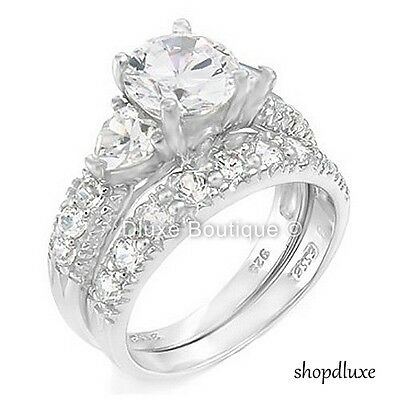 4.15 CT ROUND CUT CZ .925 STERLING SILVER WEDDING RING SET WOMEN'S SIZE 4-11 4 Round Czs Ring