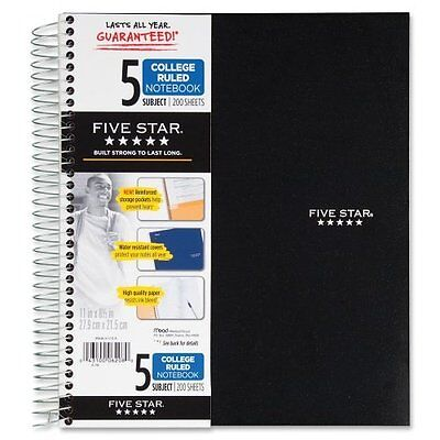 Mead 06208 Notebook 5-subject8-pocket 200 Shts 11x8-12 Black