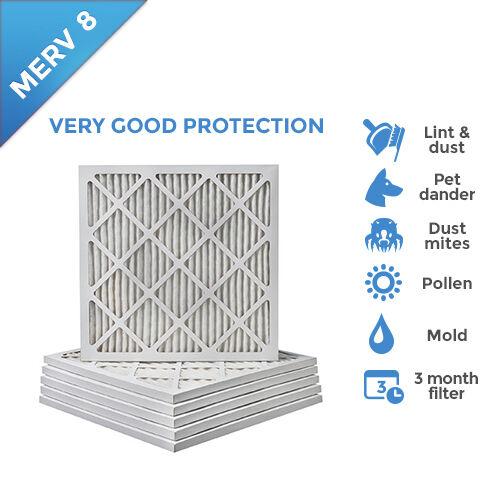 20x25x1 MERV 8 Pleated AC Furnace Air Filters.    6 Pack