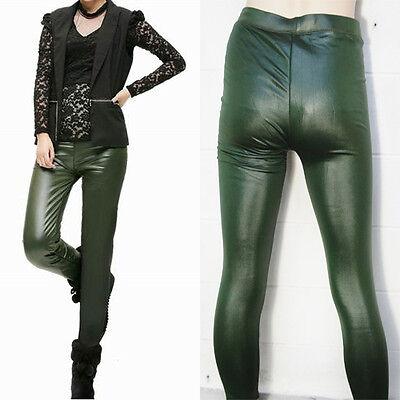 (Women's Fleece Lined Green Faux Leather Fashion Wet Look Vinyl Legging Slim Pant)