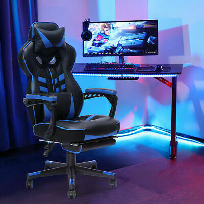 Racing Gaming Chair Ergonomic Swivel Office Recliner Chair Upgraded Version Blue