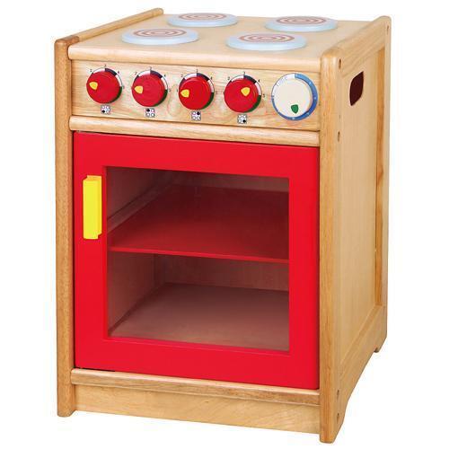 Retro Wooden Cooker & Hob Childrens Pretend Role Play