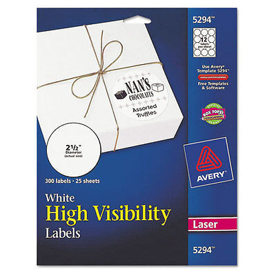 Avery High-visibility Round Laser Labels 2-12in Dia White 300pk - Ave5294
