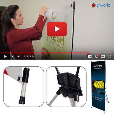 """X Banner Stand Tripod Trade Show Display 24""""x63"""" for sale  Shipping to Canada"""