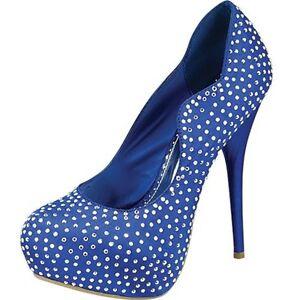 Sz-6-5-Blue-Studded-Shoes-New-Sexy-Women-Pump-Platform-Party-Evening-High-Heels