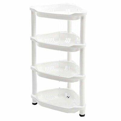 Macallen Bathroom Corner Shelf Storage Unit Freestanding Caddy Plastic White