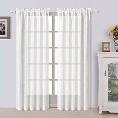 BEST DREAMCITY Rod Pocket Faux Linen Semi Sheer Curtains for Bedroom (White,