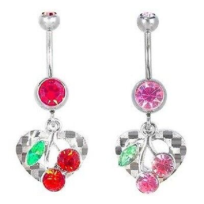 Heart Belly Ring Cherry Checker Navel Dangle CZ Body Jewelry Red Pink Green Sexy Checker Belly Button Ring