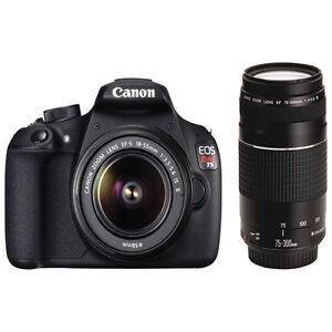 SALE on NEW Canon EOS Rebel T5 DSLR w/ 18-55mm & 75-300mm Lens