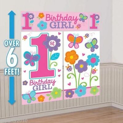 1st BIRTHDAY Sweet Girl WALL POSTER DECORATING KIT (5pc) ~ First Party (1st Birthday Girl Decorating Kit Party Supplies)