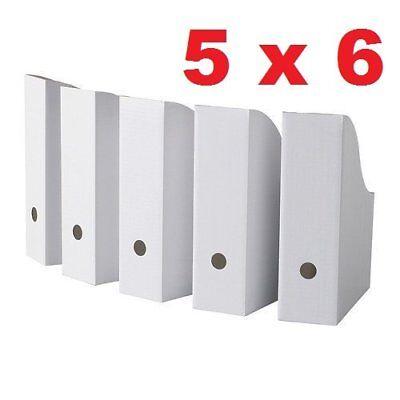 Royal 30 White Magazine File Holders Storage Boxes 12 14h X 3 12w X 9 34d