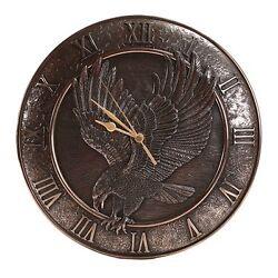 12 Round Bronze Color Eagle Wall Clock w Roman Numeral Figurine Statue