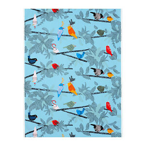 details about new ikea evalotta home decor fabric blue turquoise bird