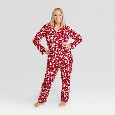 NEW Women's Holiday Santa Notch Collar Pajama Set - Wondershop Red - Santa Pj