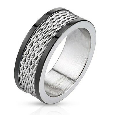 Bridal Duo Band (Men's 8mm Wedding Band Stainless Steel Wire Inlay Duo Tone Black IP Edegs Ring )
