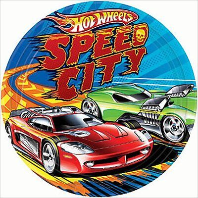 HOT WHEELS Speed City LARGE PAPER PLATES (8) ~ Birthday Party Supplies Dinner (Party City Supplies Birthday)