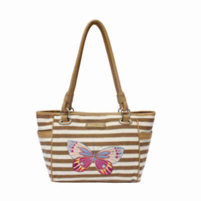 Rosetti Savannah Garden Double Handle Tote Bag Tan Stripe Butterfly  -