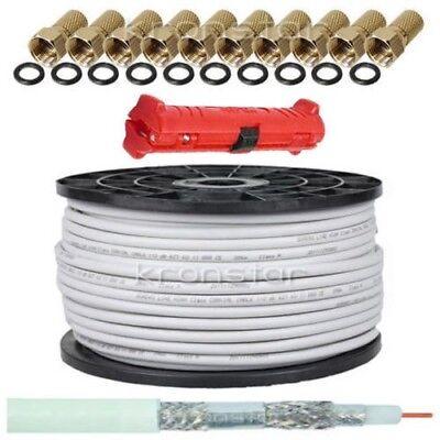 50m 130dB Koaxialkabel DIGITAL Antennenkabel SAT TV Kabel Ultra HD 4K+Abisoliere Tv-kabel