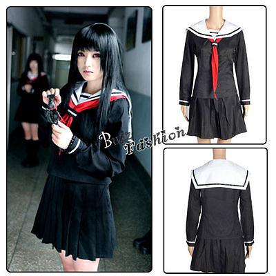 Anime Girl Halloween Costume (Anime Costume GIRL Black School Navy Uniform Cosplay)