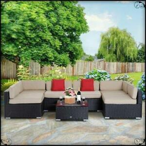 Patio Furniture 7 pcs Wicker Patio Furniture Sectional Sofa Set Cushioned Set Backyard Garden Sofa Set Garden Furniture