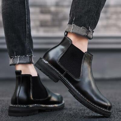 Retro Mens High Top Work Ankle Boots Shoes Biker Pumps Fur Lined Warm Non-slip L
