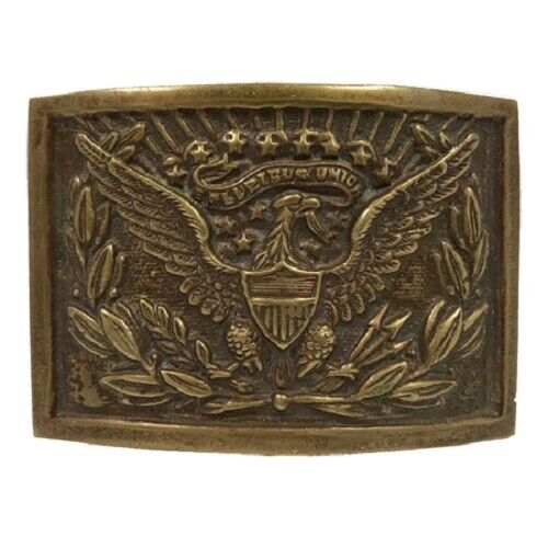 Antique Style Military Civil War US Eagle Officers Belt Buckle Plate Solid Brass