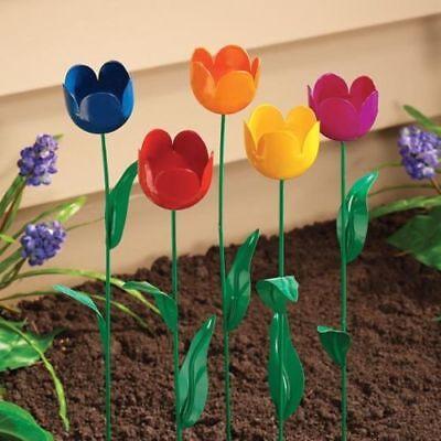 Tulip Garden Stake Set of 5 Metal Flower Yard Art Outdoor Planter Lawn Decor NEW