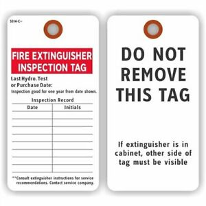 Fire Extinguisher Inspection Tag, Colored 13pt Cardstock, 25Tags / Pack, 3