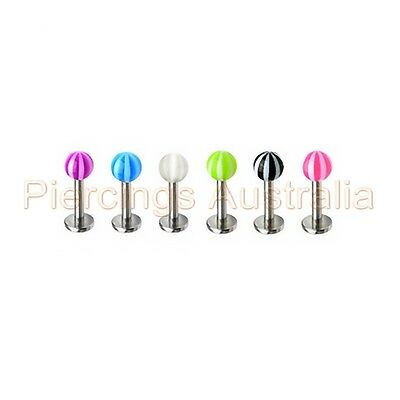 14G Candy Stripe Beach Ball Labret Lip Bar Ring Monroe Stud Piercing Jewellery 14g Body Jewelry Beach Ball