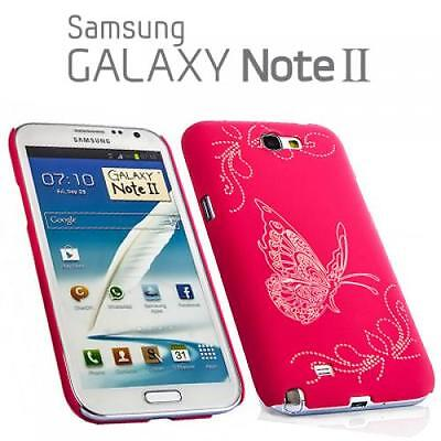 Schutz Hülle Handy Cover Samsung N7100 Galaxy Note 2 II Pink Hard Case Butterfly Pink Butterfly Handy