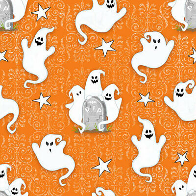 Ghostly Glow Town Ghost on Orange Grave Stones Stars Brocade Halloween Fabric ()
