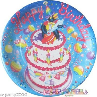 LISA FRANK SMALL PAPER PLATES (8) ~ Vintage Birthday Party Supplies Cake 1980s