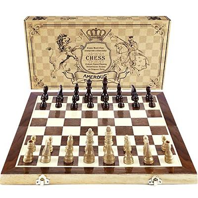 "Amerous Chess Set, 15""x15"" Folding Magnetic Wooden Standard"