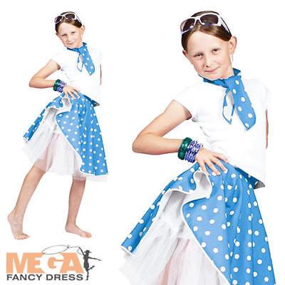 1950s Rock N Roll Blue Skirt Girls Fancy Dress 50s Fifties Kids Costume Outfit (Fifties Costumes For Girls)