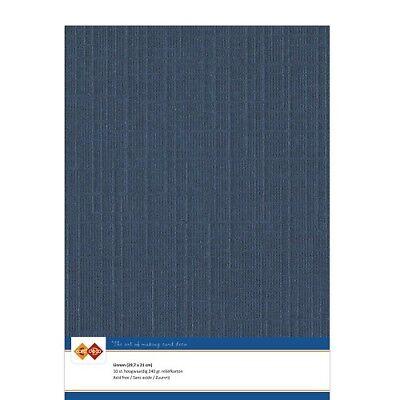 (EUR 4,81/m²) Leinenkarton 10xA4-Bogen dunkelblau 30