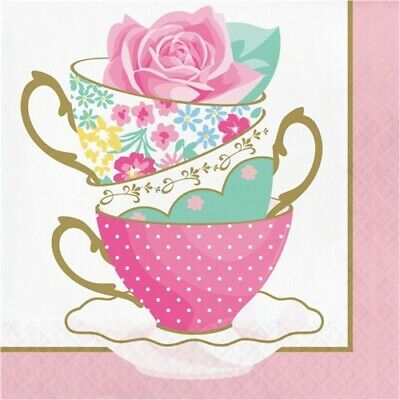 Floral Party Napkins (Floral Tea Party Teacup Lunch Napkins 16 Pack Girls Birthday Party)